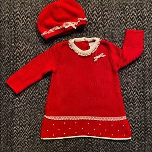 Tahari Baby Christmas outfit with lace detailing .
